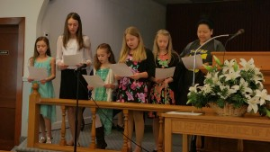 Sister Linda's class singing on Easter morning.