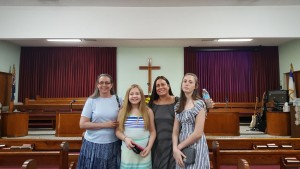 Sister Linda and a couple of our Sunday School students visiting the Church of God, Grand Cayman.